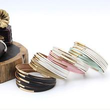 Fashion Leather Gift Women Graceful Strips Multilayer Wide Wrap Bracelet Girls  Exquesite PU Bohemian 1PC Alloy
