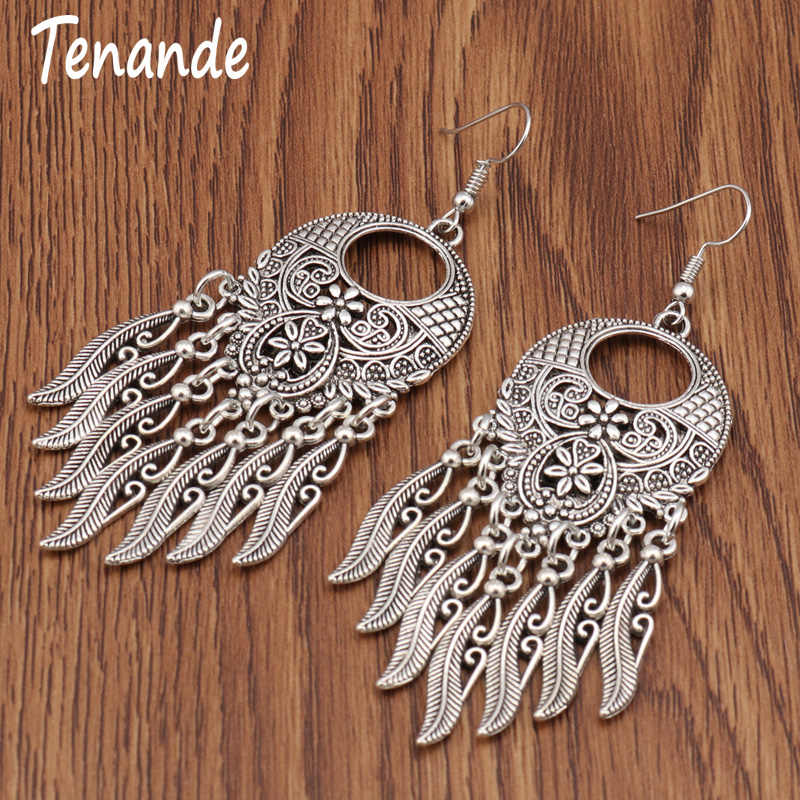 Tenande Vintage Tibet Silver Color Big Statement Hollow Carved Flowers Geometric Patterns Leaves Tassel Drop Earrings for Women