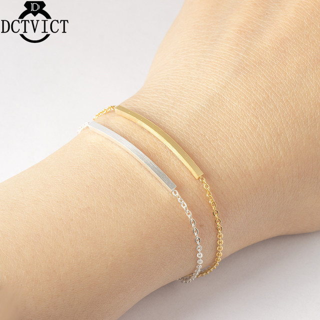Stainless Steel Chain Thin Bar Bracelets Women Men Simple Gold Color Couple Bracelet Femme Fashion Jewelry Christmas Gifts Bff
