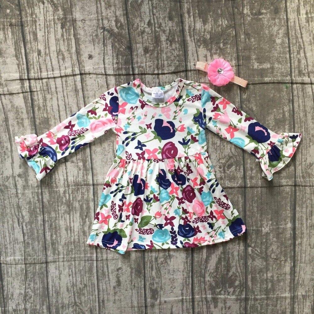 baby girls Fall Autumn dress clothing girls navyl floral dress children girls boutique soft milksilk dress with match bows