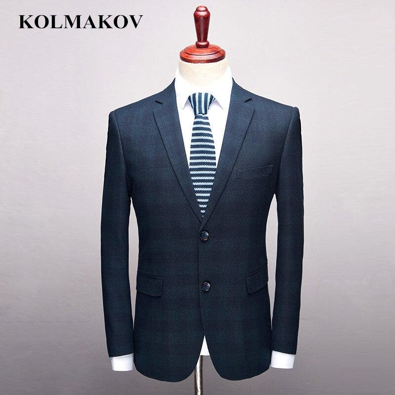 KOLMAKOV Hommes Vêtements Nouvelle Marque de Mens Blazers Robe 2019 Affaires Décontractée Mâle Blazer Bleu Plaid Fit Manteaux Et Vestes s-3XL