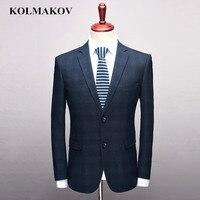 KOLMAKOV Men's Clothing New Brand Mens Blazers Dress 2019 Business Casual Male Blazer Blue Plaid Fit Coats And Jackets S 3XL