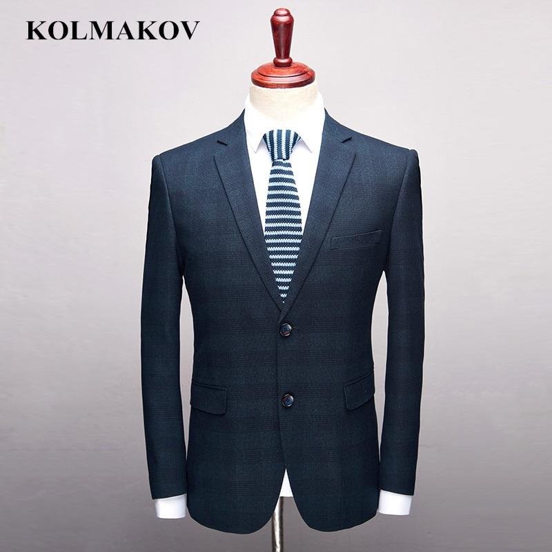KOLMAKOV Men's Clothing New Brand Mens Blazers Dress 2018 Business Casual Male Blazer Blue Plaid Fit Coats and Jackets S 3XL