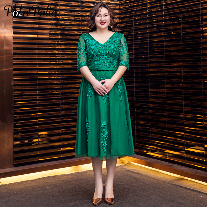 Green Evening Dresses Long Luxury Appliques Rhinestone A-line Tea-Length Plus Size Formal Gowns With Half Sleeves For Women