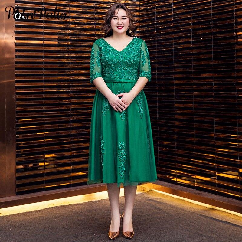Robes de soirée vertes longues Appliques de luxe strass a-ligne thé longueur grande taille robes formelles avec demi manches pour les femmes