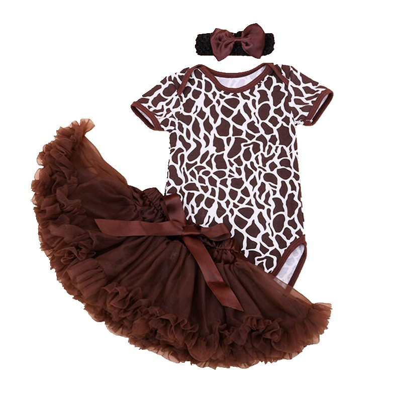 Brown The Deer Print Baby Girl Summer Clothes Ropa De Bebe Bodysuit Lace Skirt Headband Newborn Tutu Sets Girls Clothing Sets summer baby girl clothes newborn 3 piece clothing sets kids infant outfits suit girls bodysuit romper skirt headband