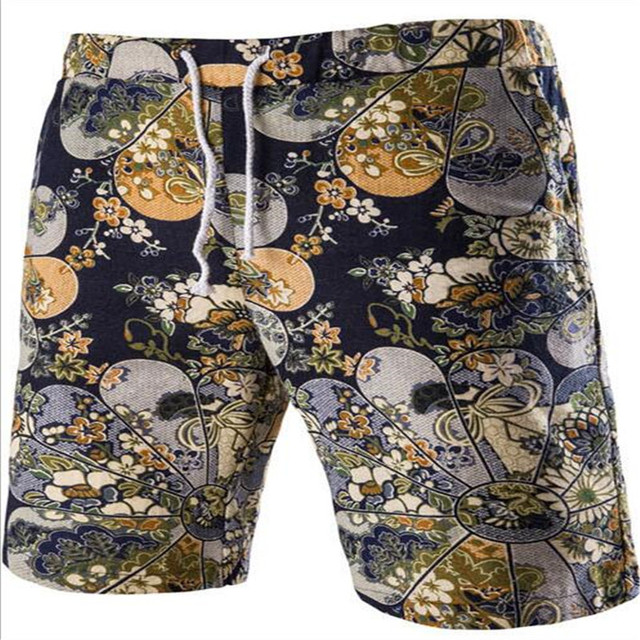 MEBOSYA Men's Linen Shorts Personality Ethnic Style Color Stitching 2016 Summer New Leisure Wild Men Loose Floral Beach Shorts
