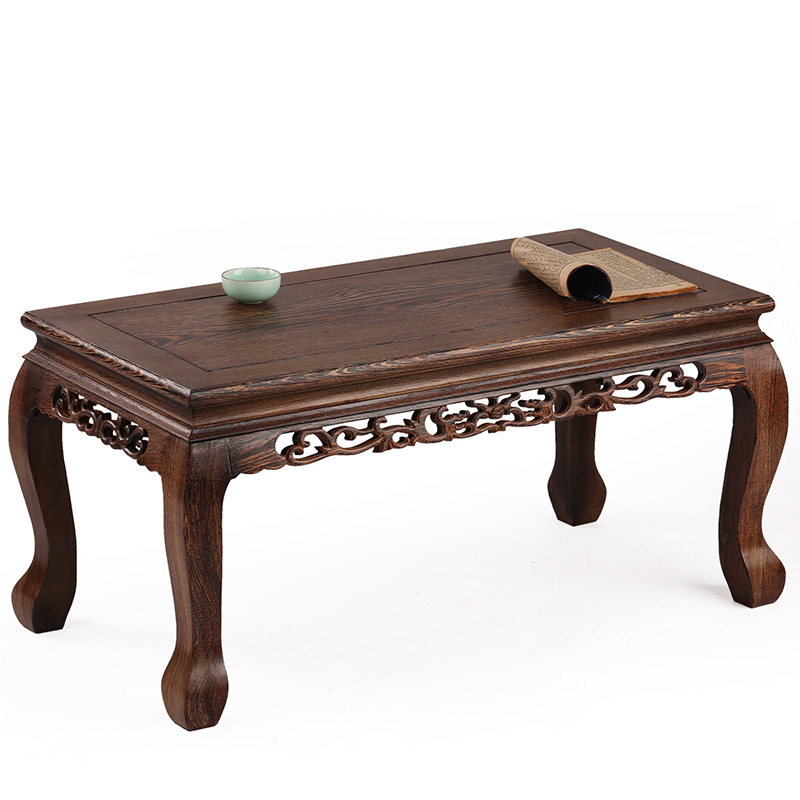 Mahogany furniture wooden wood table Kang several windows carved antique tatami platform ...
