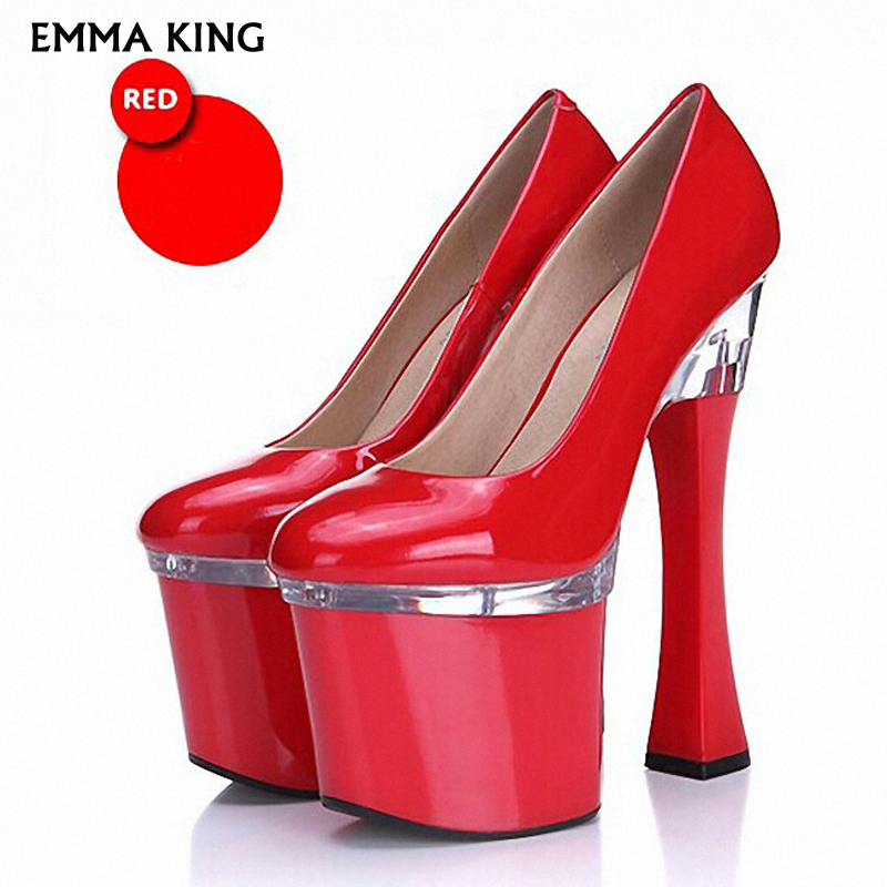 NEW <font><b>18cm</b></font> Super <font><b>High</b></font> <font><b>Heel</b></font> Pumps <font><b>Sexy</b></font> Red Thick <font><b>Heel</b></font> Gorgeous Ladies <font><b>Heels</b></font> Bridal wedding Shoes Waterproof Platform Shoes Woman image