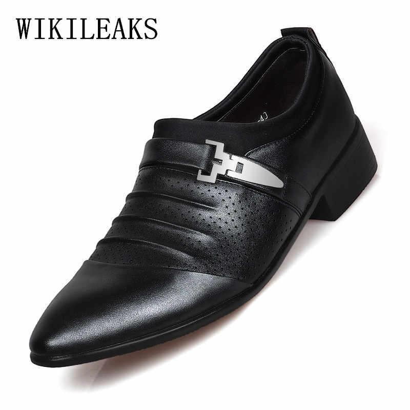 Diseñador de lujo para Hombre Zapatos de vestir de cuero italiano mocasines Hombre Zapatos formal de fiesta de oficina zapatos de boda hombres clásicos herren shuhe