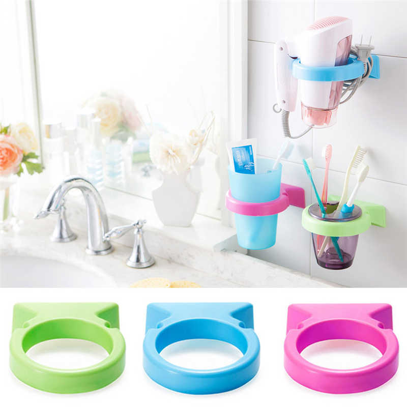Image 5 - High Quality Cartoon toothbrush Storage Rack Wall Mounted Cup in Shower Room Hanger Cup Toothpaste Storage Rack Holder Wall Moun-in Storage Shelves & Racks from Home & Garden