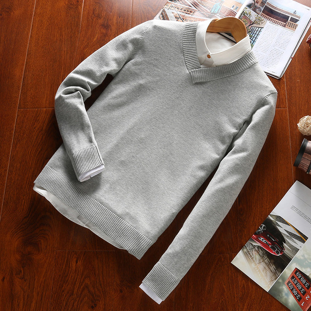 2016 Men Polo Sweaters V Neck Classical Casual Knited Cotton Fashion Designer Pullovers 15 Colors Plus Size S To 5XL Available