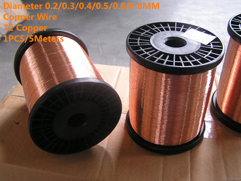 1PCS/5Meters  CW001  Diameter 0.2/0.3/0.4/0.5/0.6/0.8MM Copper line T2 Copper Copper Wire  Free Shipping sell at a loss