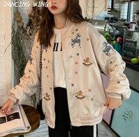 Women Spring Stars Embroidered Bomber Jacket Metal Ring Zipper Loose Baseball Basic Coats Woman