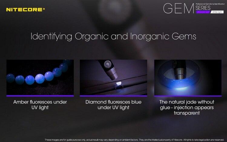 2020 nitecore gem8uv profissional pedra preciosa identificação