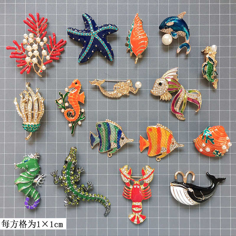 1pc New retro bling Diy Brooch Vintage Enamel fish Lapel Pins Badge for women New Year