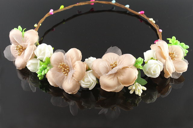 Ancient brown Floral Tiaras Wedding Bridal Hair Accessories Fabric Flower Crowns handcrafted Woman Girls Flower Garland