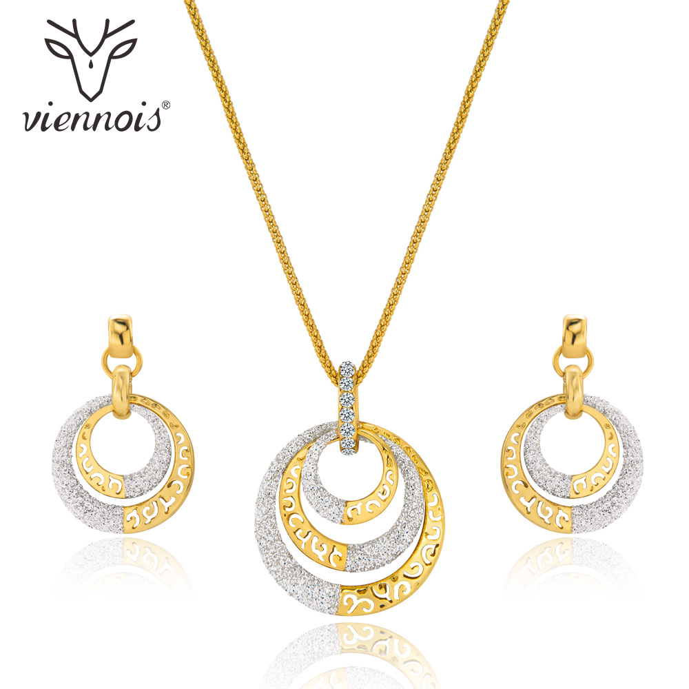 Viennois Jewelry Sets for Women Fashion Mixed Color Hollow Out Necklace Earrings Set Party Jewelry a suit of charming hollow out necklace bracelet ring and earrings for women