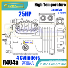 25HP semi-hermetic reciprocating compressors are installed in kinds of food storage & processing units, replacing 4H25.2Y