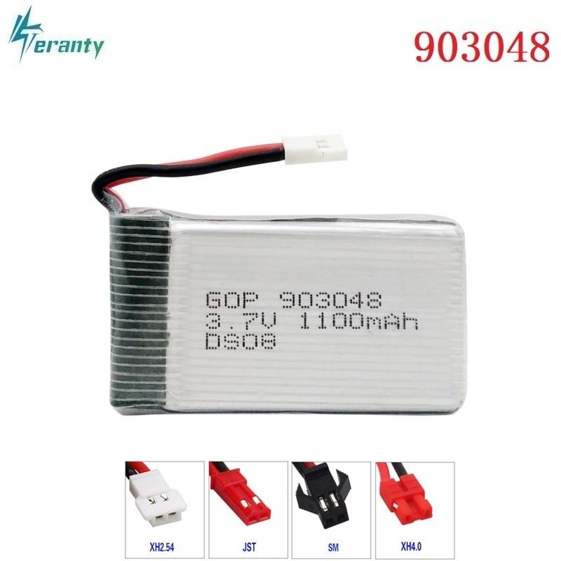 3.7V 1100mAH 20c Lipo Battery For Syma X5C X5SC X5SW T04 F28 859B Remote Control Helicopter Batteries Li-po 3.7v 903048 XH Plug