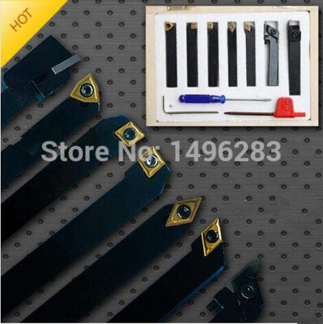 10mm 7pcs/set indexable carbide turning lathe cutter tool set with inserts for CNC machine,Tincoated,Lathe cutting tools set