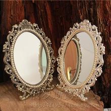 Ретро настольное косметическое зеркало для макияжа, цветочные тисненые украшения, инкрустированная жемчугом металлическая рамка, украшение стола, серебряная бронза, 337A