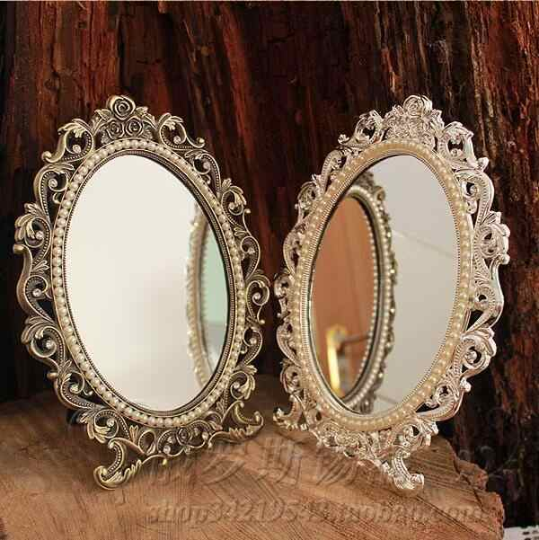 Vintage Retro Oval 360 Rotating Compact Mirror Double Face