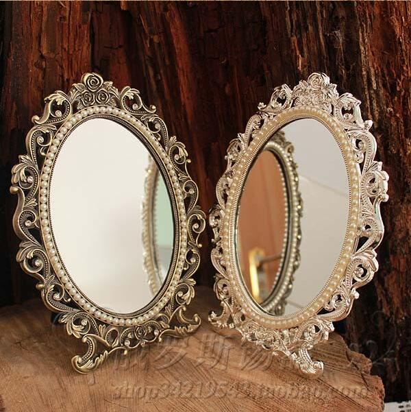 retro desktop makeup cosmetic mirror floral embossed jewelry pearl-inlayed metal frame table decoration silver bronze 337A