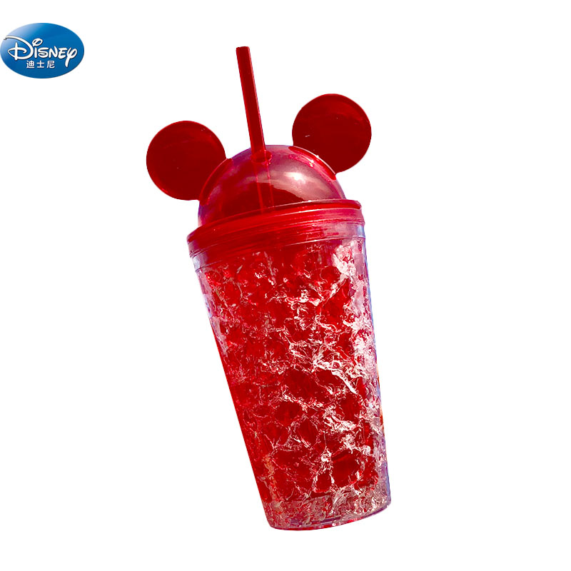 450 ML Disney Red Minnie Mickey Mouse Cup Transparent Personality Student Outdoor Sports Bottle Straw Drinking Cup Kids Gift