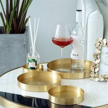 Nordic Metal Round Storage Tray Modern Chic Ins Brass Fruit Cake Dessert Plate Retro Golden Jewelry Display Desktop Decor