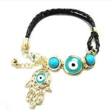 Polychromatic sets accessories wholesale evil eye bracelet Fatima with blue eyes hand Turkey Ms send free