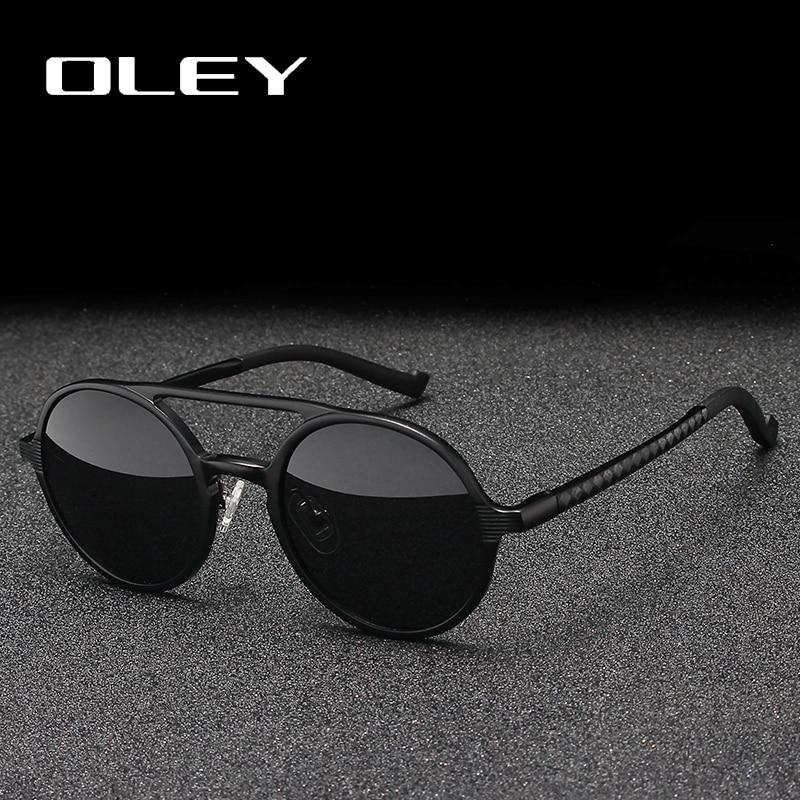 OLEY Brand New Men Round Aluminum-Magnesium Polarized Sunglasses Fashion Retro Women Sun Glasses Anti-glare Unisex Goggles
