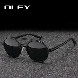 Image 3 - OLEY Brand New Men Round Aluminum Magnesium Polarized Sunglasses Fashion Retro Women Sun Glasses Anti glare Unisex Goggles