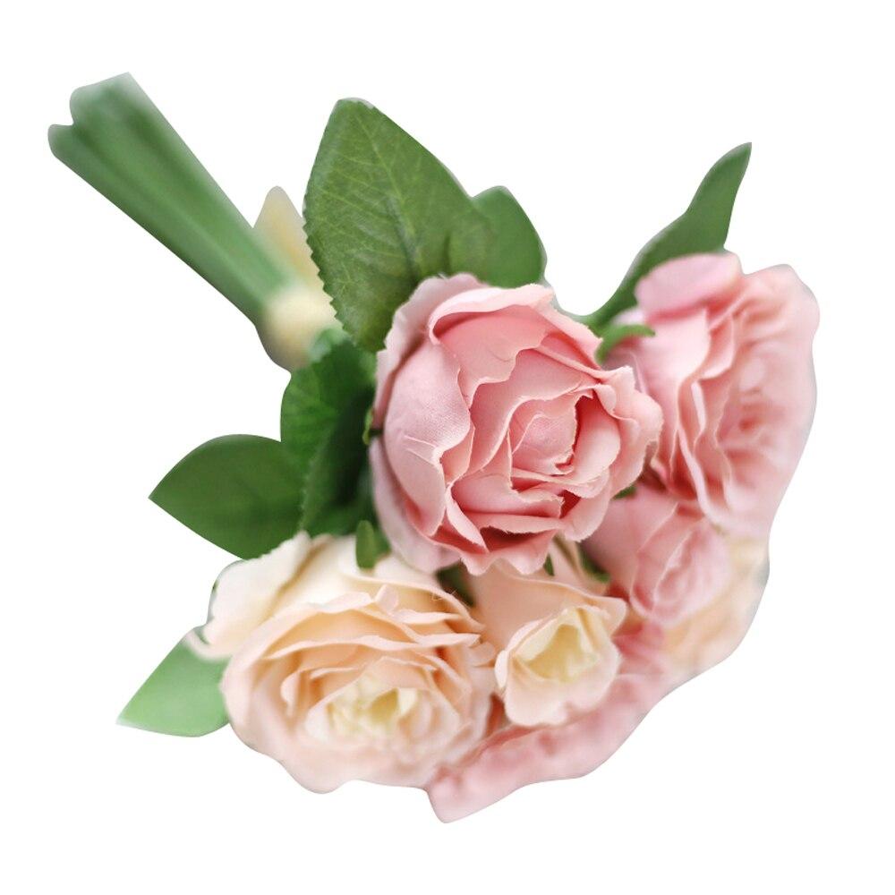 7 голов искусственного шелка Поддельные декоративные цветы листья розы Цветочный декор Букет Свадебные украшения u6901