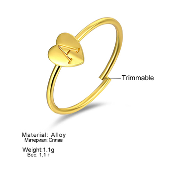 FAMSHIN Gold Silver Color Heart Letters Name Ring Set Engagement Party Jewelry 4