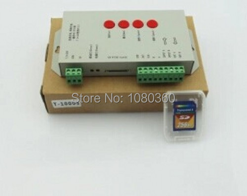 ФОТО original T1000S SD card controller for WS2801 WS2811 LPD6803 WS2812B led pixel RGB Controler DMX512 DC5V-24V RGB play video
