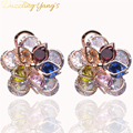 DAZZLING YANG'S Brand Elegant Wedding Bridal Jewelry Accessories Gold Plated Cubic Zirconia Flower Stud Earrings for Party Girls