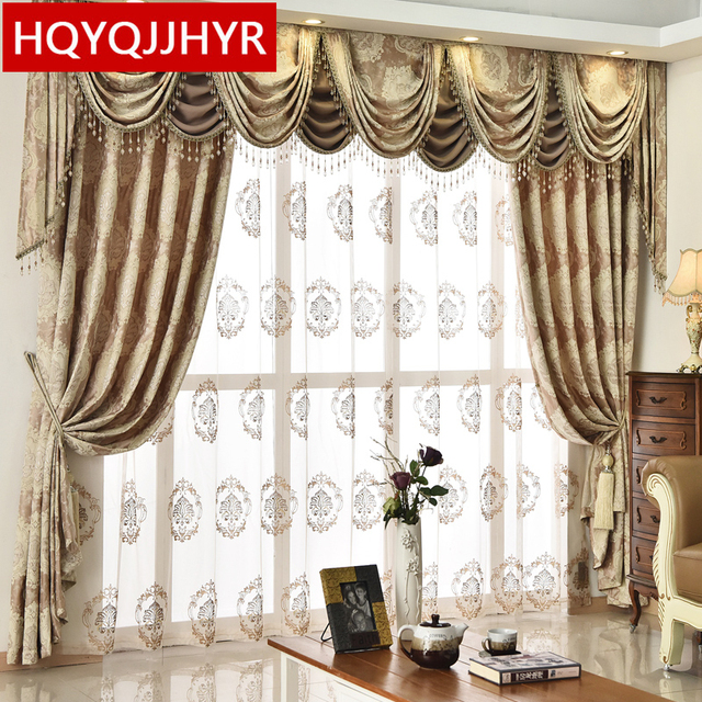 High End Custom European Style Jacquard Blackout Curtains For Living Room  Windows High Quality Classic