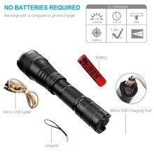 Poderoso LED Tático Lanterna Tocha Zoomable 1200 Lumen Recarregável USB 18650 À Prova D' Água IP8 Cree xm L2 LEVOU lanterna de Luz