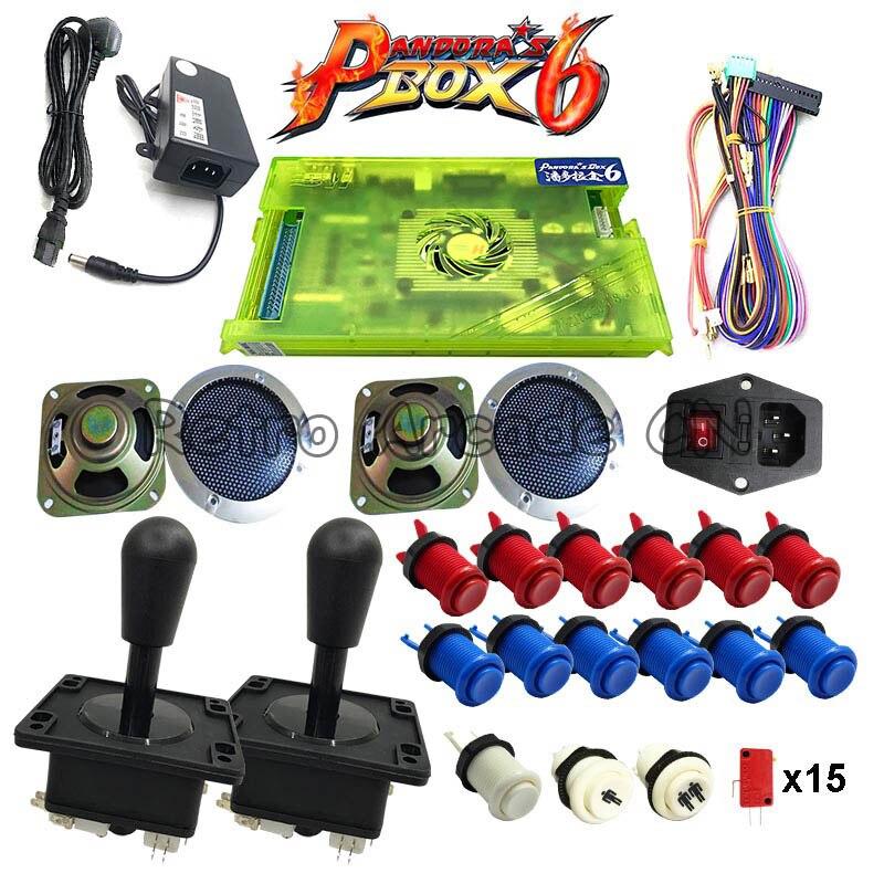 2 lecteur kit de bricolage pandora box 6 1300 dans 1 plateau de jeu et joystick Américain HAPP Style bouton-poussoir pour machine de jeu de type arcade