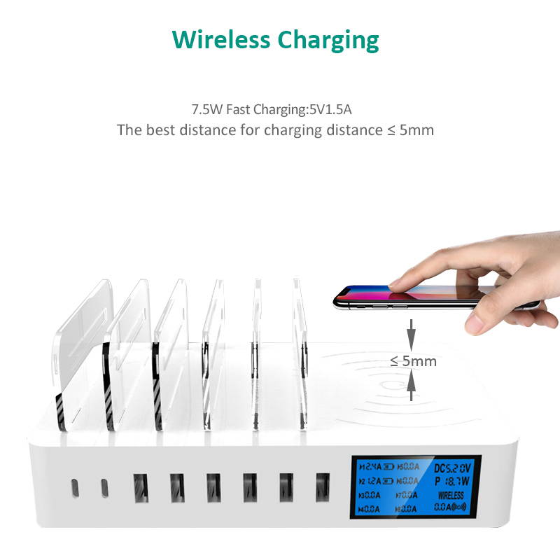 Image 5 - iNGMAYA Qi Wireless Charger LED Show USB Type C Multiple Port  Charging For iPhone XR Xs X Samsung S9 Huawei P30 Pro Mi 9  AdapterMobile Phone Chargers