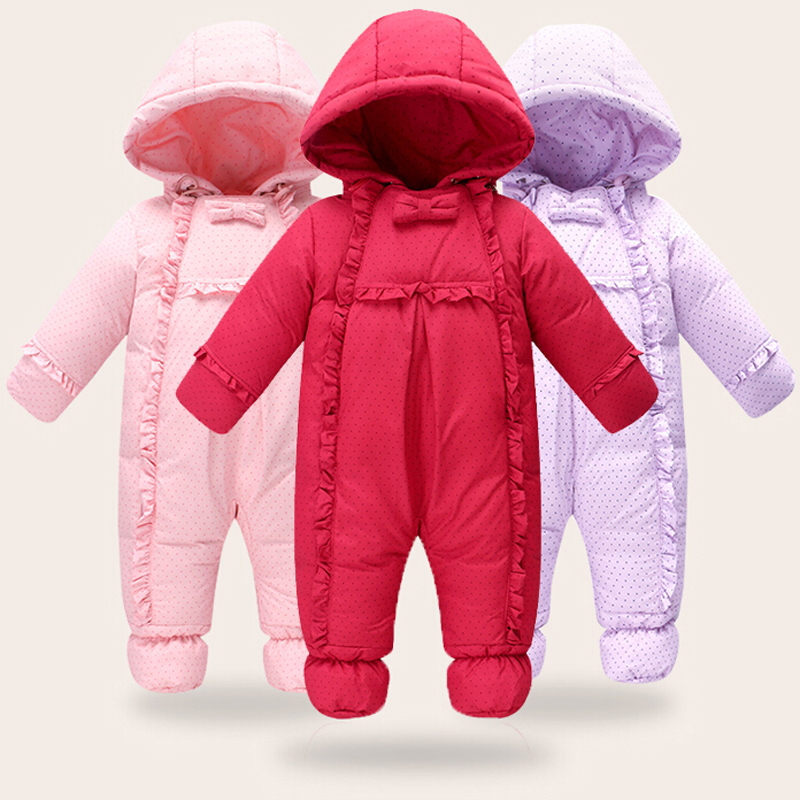 Baby Thick Overalls Winter Rompers Jackets For Boys Girls Kids Outerwear Warm Snowsuits Romper Jumpsuit Clothes Down Jacket a15 girls jackets winter 2017 long warm duck down jacket for girl children outerwear jacket coats big girl clothes 10 12 14 year