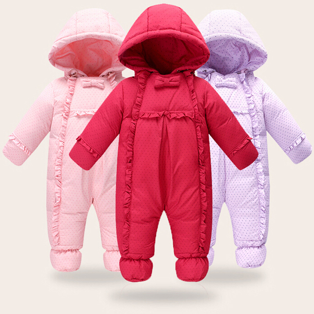 c410a3378140 Baby Thick Overalls Winter Rompers Jackets For Boys Girls Kids ...