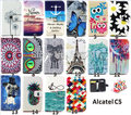 Yh pintura de color pu cubierta de cuero de case para alcatel one touch pop c5 ot-5036d, alcatel one touch pop c5 case