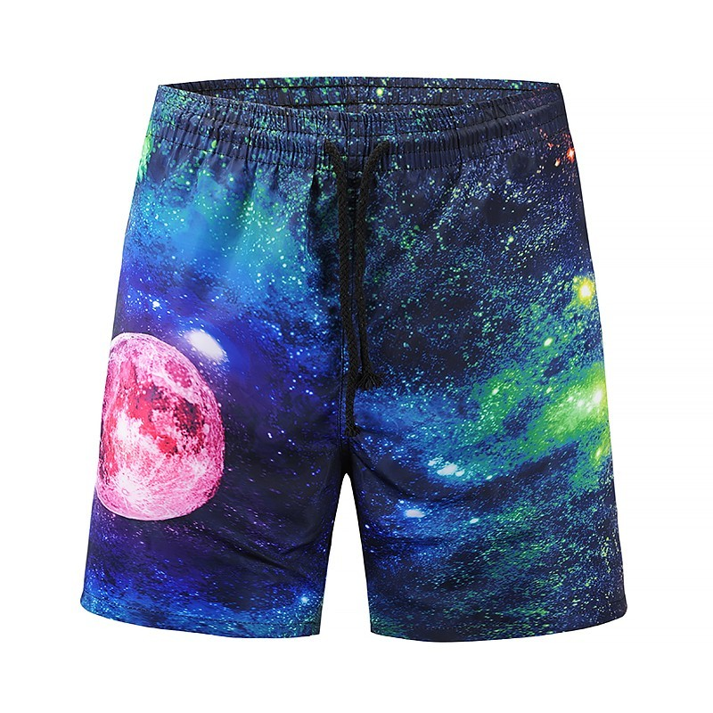 Novelty Space Pattern Printed Boardshorts Quick Drying Pool Bathing Suit Mens Polyester Beach   Board     Shorts   Boys Bermuda Trunks