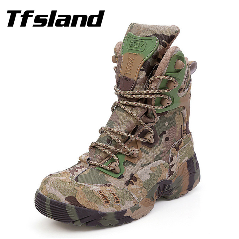Men Military Tactical Combat Outdoor Sport Army Boots Camouflage Hiking Shoes Desert Botas Travel Male Leather High Top Sneakers yin qi shi man winter outdoor shoes hiking camping trip high top hiking boots cow leather durable female plush warm outdoor boot