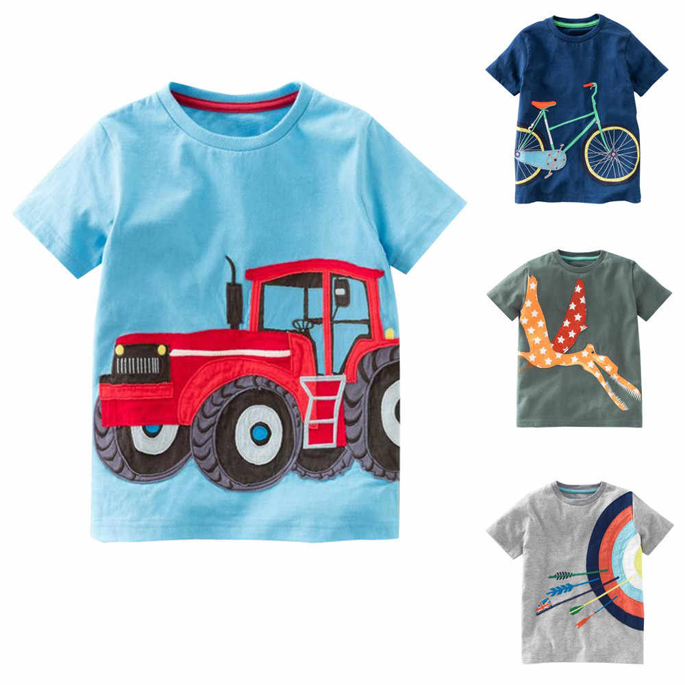 Toddler Kids Baby Boys Girls Clothes Short Sleeve baby boy clothes summer Cartoon Tops T-Shirt Blous JAN14