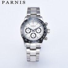 Parnis 39mm dial quartz chronograph topo da marca de luxo piloto negócio à prova dwaterproof água relógio de cristal safira masculino relogio masculino