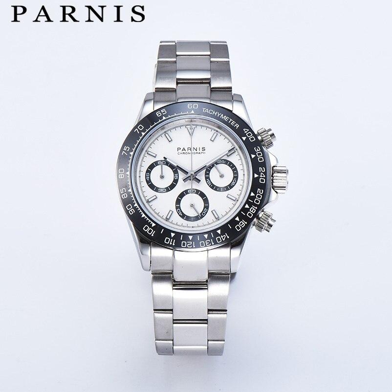 Parnis Quartz chronographe montre hommes Top marque de luxe pilote affaires étanche verre saphir montre pour hommes Relogio Masculino - 1