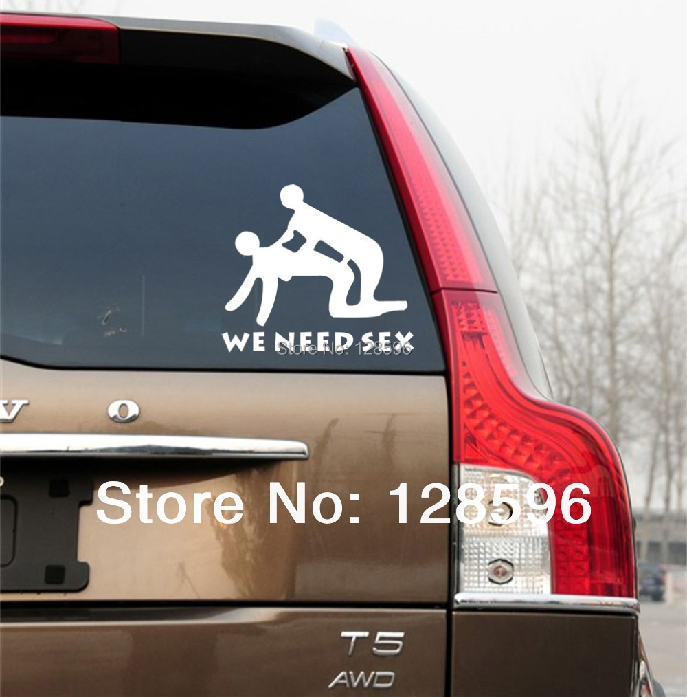 Hotmeini New We Need Sex Stick Figure Vinyl Decals Funny Car Truck